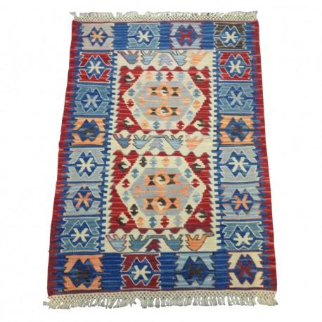 Petit tapis oriental d'Anatolie, kilim rouge et bleu C37