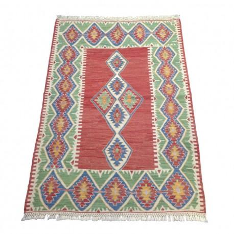 Tapis Oriental Vert et Rouge, Kilim Vintage de Turquie S22