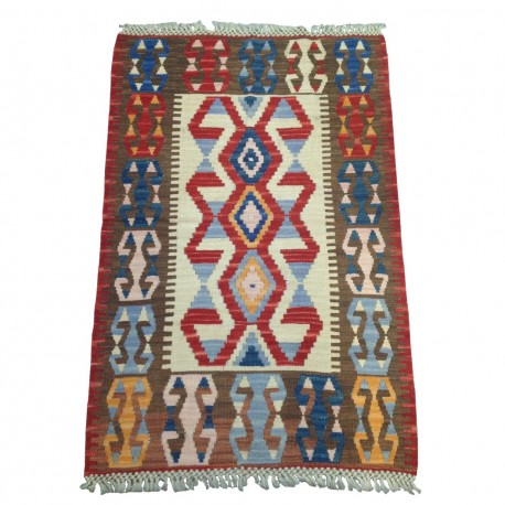 Petit tapis kilim tribal marron décoration bureau C33