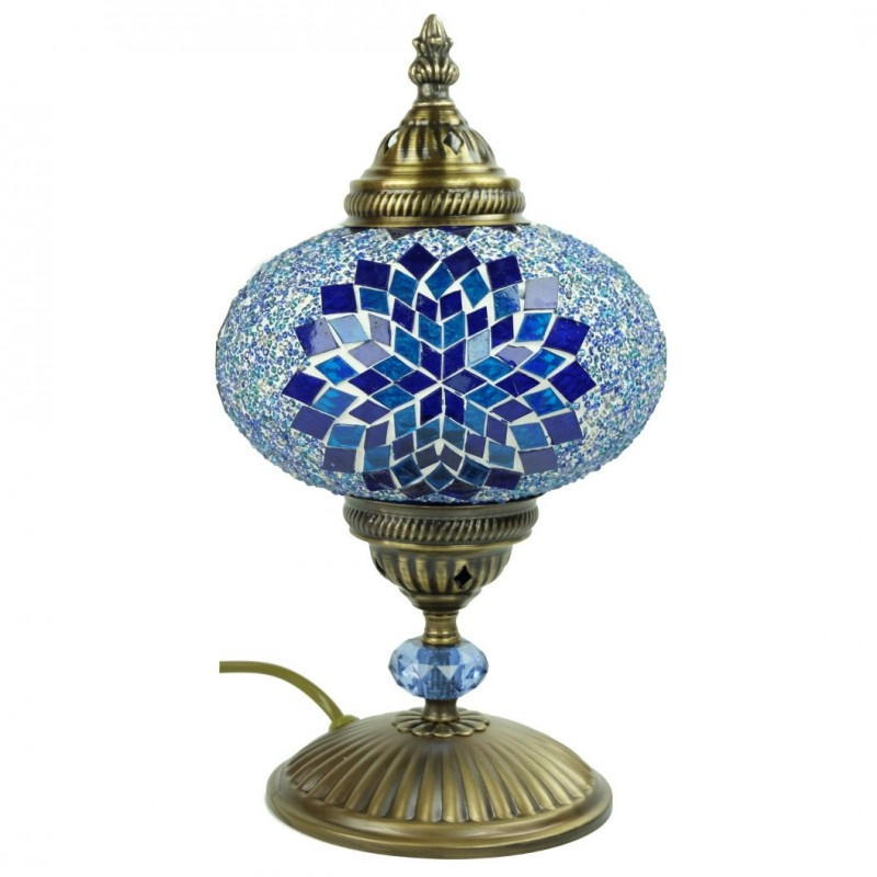 Lampe de chevet d co en mosa que bleue idia for Lampe de chevet orientale