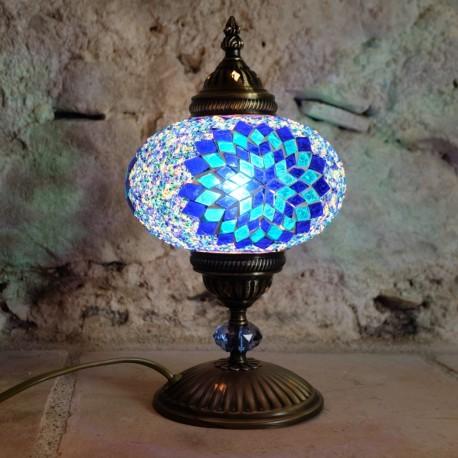 Lampe de chevet déco en mosaïque bleue Idia