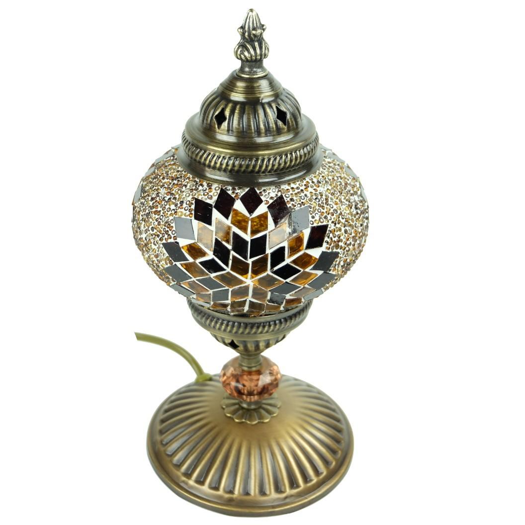 Lampe mosa que poser marron isnun for Lampe de chevet orientale