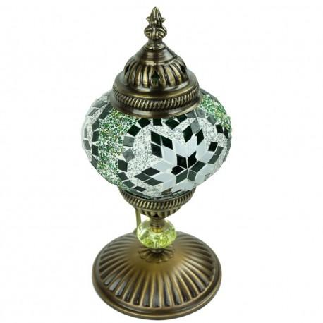 Lampe orientale à poser en moaïque verte Isnun, décoration orientale