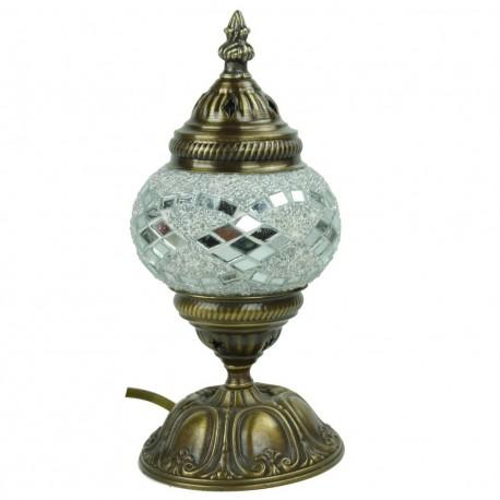 Petite lampe orientale en mosaïque blanche Jaria, décoration bohème