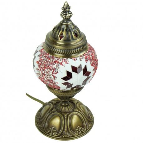 Cadeau déco, petite lampe mosaïque turque rouge Jaria