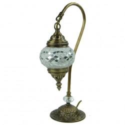 Lampe bohème col de cygne blanche Irouna, décoration bohème