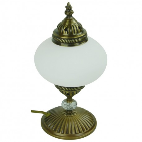 Lampe orientale de salon en verre dépoli et laiton Cynia
