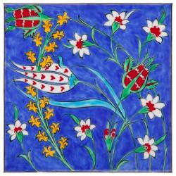 Carreau en faïence bleu d'Iznik Dilara 20x20 avec motifs floraux orientaux