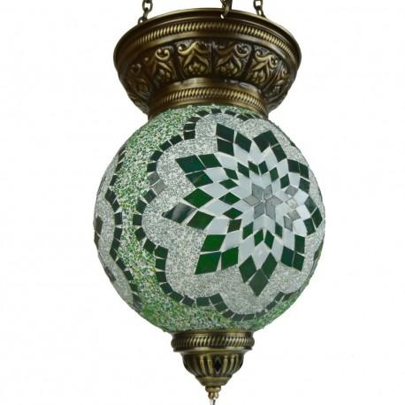 Suspension ethnique verte en mosaïque déco Istia