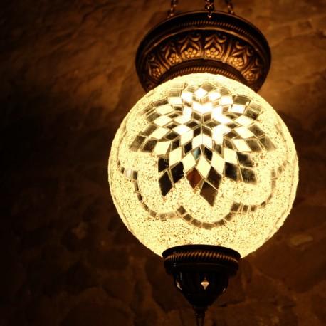 Lampe bohème déco blanche en mosaïque Istia