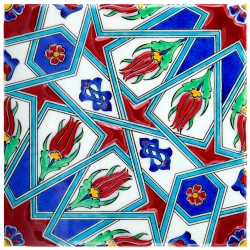 Carreau ottoman Tuncay 20x20 avec motifs géométriques (style Iznik)