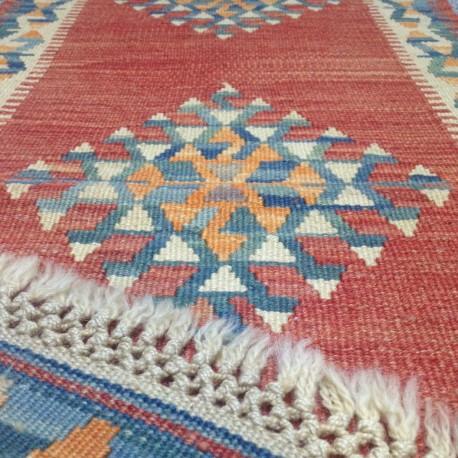 Petit tapis kilim d'Anatolie rouge et bleu Y11