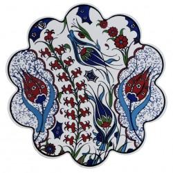 Dessous-de-plat fleuri Menad en céramique orientale