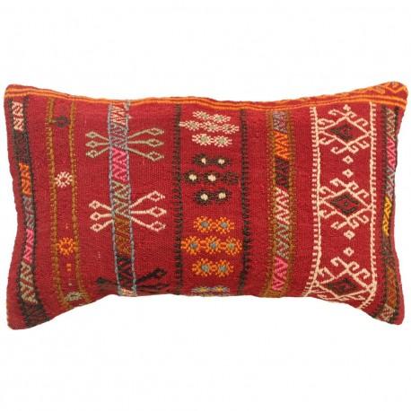 Coussin kilim rouge artisanal Lumbar C042, décoration ethnique
