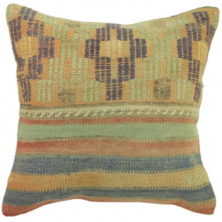 Coussin décoratif en kilim couleurs pastel Kolon C050