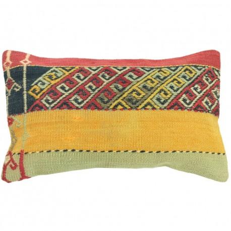 Coussin design oriental en kilim bleu, rouge, jaune et noir lumbar C043