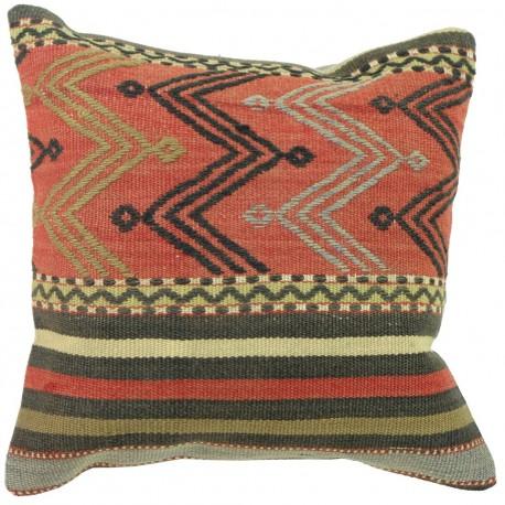 Coussin kilim vintage artisanal Kolon C091, décoration orientale