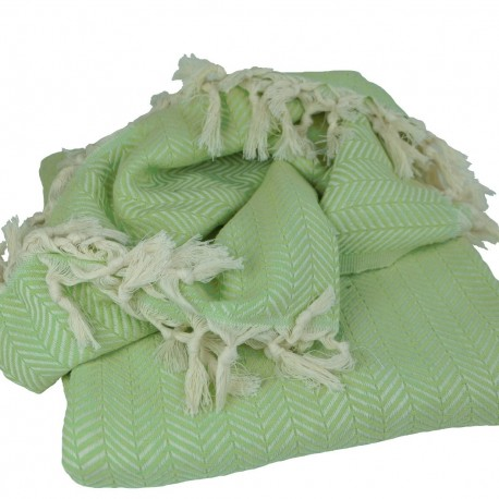 Plaid oriental Safys vert, couverture orientale