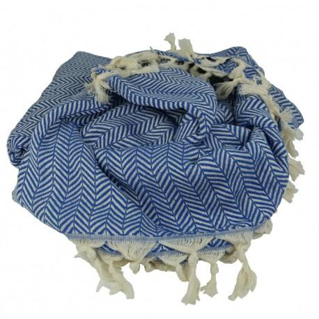 Plaid ethnique bleu pour fauteuil Safys