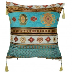 Coussin ethnique Bythinia turquoise
