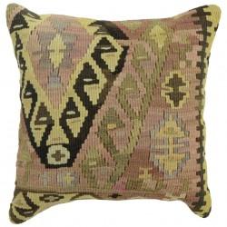 Coussin oriental en kilim vintage Kolon C088, déco ethnique chic