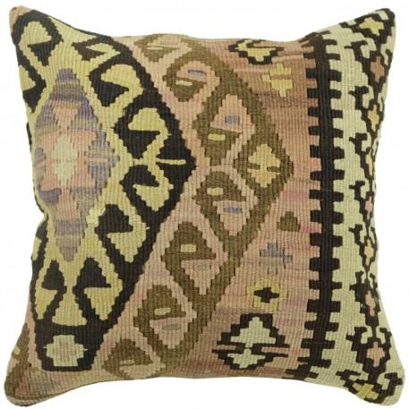 Coussin ethnique vintage en kilim décoratif Kolon C089