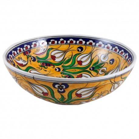 Bol jaune décoratif avec fleurs Derya 25cm, vaisselle orientale