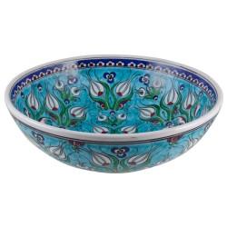Cadeau chic, bol turquoise oriental design Derya 20cm en céramique ottomane