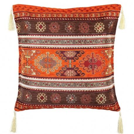 Coussin décor ethnique orange et marron Kapadokia