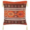 Coussin ethnique Kapadokia orange et marron