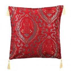 Coussin ethnique bohème Galatia rouge