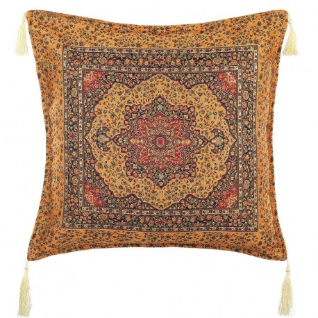 Coussin oriental orange Lycia au design exotique