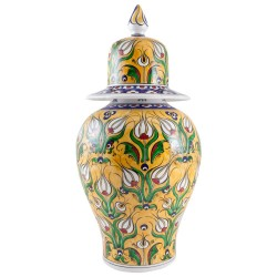 Porcelaine orientale, jarre jaune Derya 20cm avec tulipes