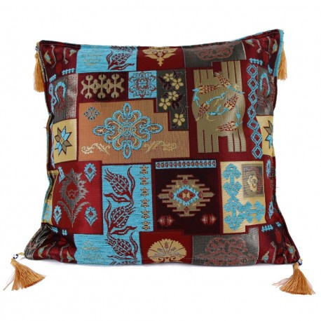 Coussin patchwork oriental turquoise Pisidia