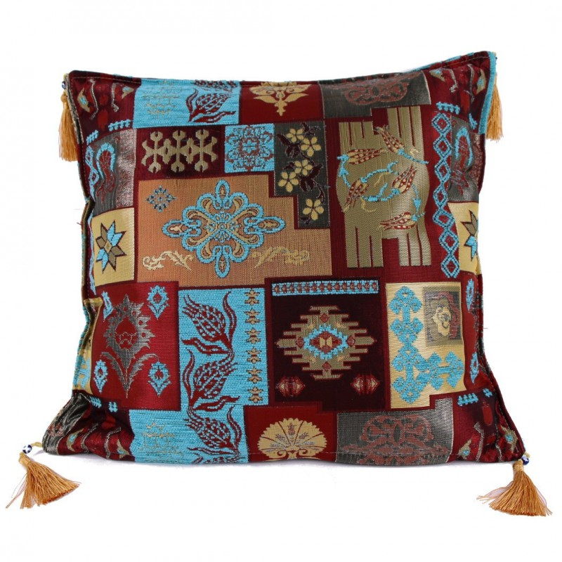 coussin patchwork oriental turquoise pisidia. Black Bedroom Furniture Sets. Home Design Ideas