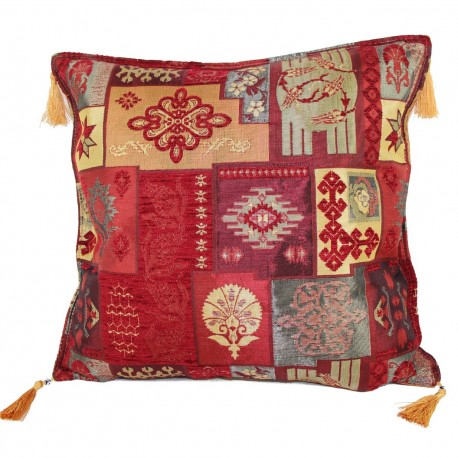Housse coussin patchwork rouge Pisidia