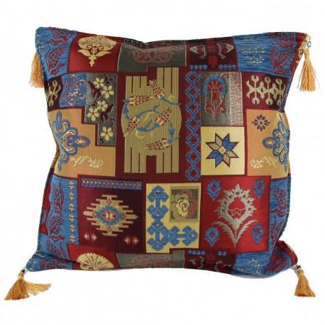 Coussin patchwork design oriental bleu Pisidia