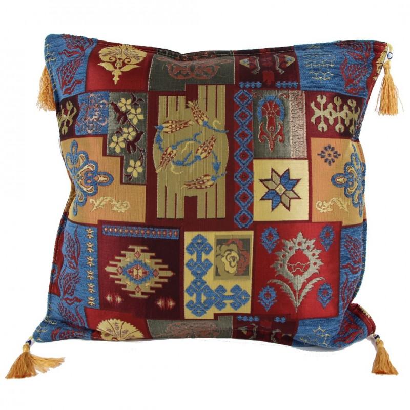 coussin patchwork design oriental pisidia bleu. Black Bedroom Furniture Sets. Home Design Ideas