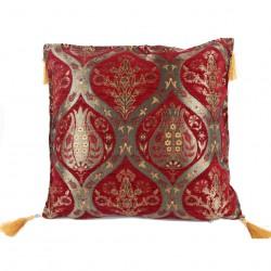Coussin ethnique à fleurs Ionia rouge