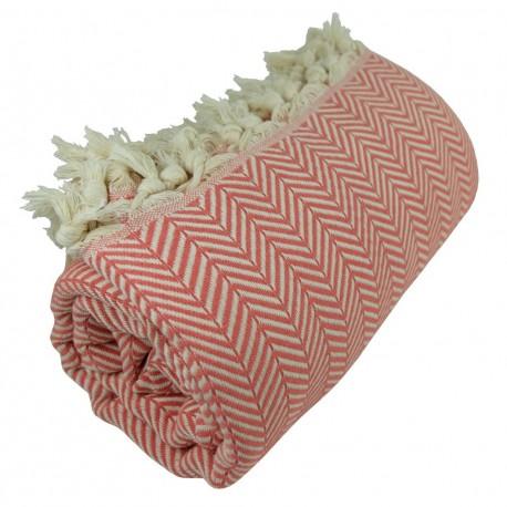 Plaid cosy couleur corail Safys