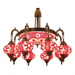 Lustre artisanal rouge en mosaïque Daya