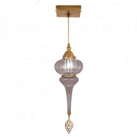 Suspension en verre strié et laiton orientale Kösem