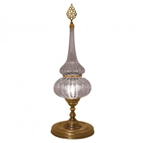 Lampe en verre strié et laiton orientale Roxelane