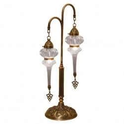 Double lampe orientale en verre strié Safiye