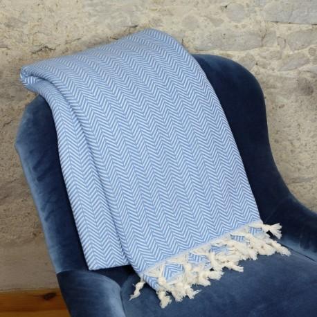 Dessu de lit ethnique bleu Safys