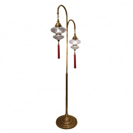 Double lampadaire oriental en verre strié Mihrimah