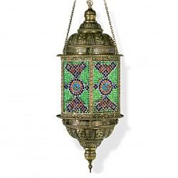 Lustre oriental en mosaique et laiton Alalus