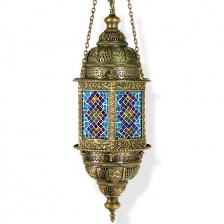 Lustre exotique oriental en laiton et mosaique Hasameli