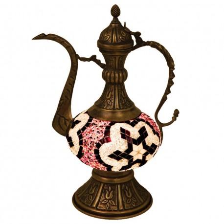 Lampe carafe orientale en mosaique et laiton Caraya
