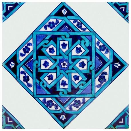 Carreau marocain bleu Eolis 20x20, décoration orientale